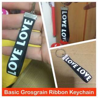 Basic Grosgrain Ribbon Keychain (15mm LOVE LOVE print) [uncle anthony]