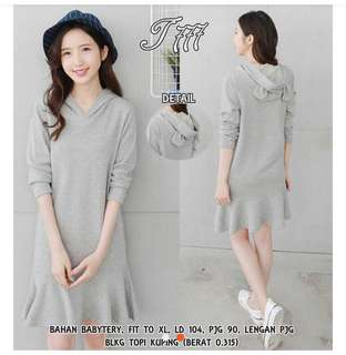 Grey Hoodie Dress with Cute Ears (All Size)