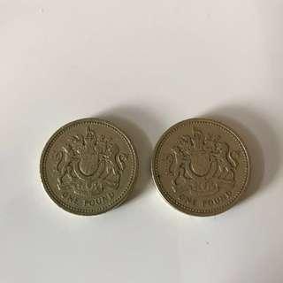 1983年英國英女皇伊利沙伯二世舊版1英鎊硬幣(2枚)