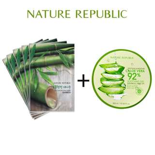 Paket Aloe Vera 92% Soothing Gel + 5 pcs Real Nature Aloe Mask Sheet