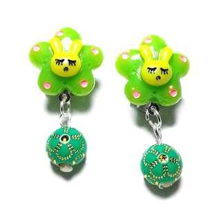 Kids Earrings - Handmade Korean Style Green Flower Bunny Bead Dropping Dangling Resin Pain Relief Safety Earring Clip For Kids