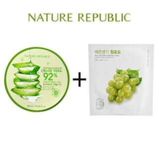 Paket Aloe Vera 92% Soothing Gel + Real Nature Green Grape Hydrogel Ma Paket Aloe Vera 92% Soothing Gel + Real Nature Green Grape Hydrogel Ma