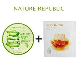 Paket Aloe Vera 92%Soothing Gel+Real Nature Manuka Honey Hydrogel Mask