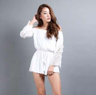 Off shoulder crochet bell sleeves romper (White)