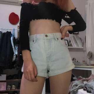 light denim high-waisted shorts