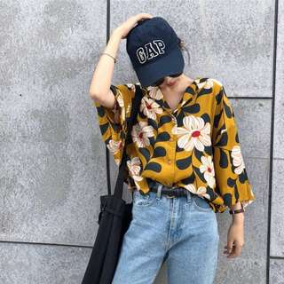 Summer Korean loose flower print bat sleeve shirt seven sleeve shirt