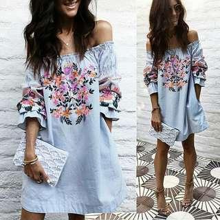 Women Off Shoulder Casual Dress Elegant Ladies Loose Summer Dresses Half Sleeve Slash Neck Floral Printed Beach Dress Vestidos