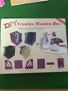 DIY creative wooden box document holder