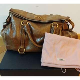 Miu Miu Handbag Vintage Leather Brown