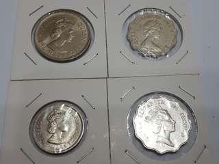 1973 5毫,1975 一元,1984/90 二元,共4枚