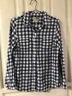 Plaid navy long sleeves polo for women