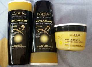 L'Oreal Total Repair 5 Set (Shampoo+Conditioner+balm)