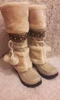 🚚 民族風絨面長筒雪靴