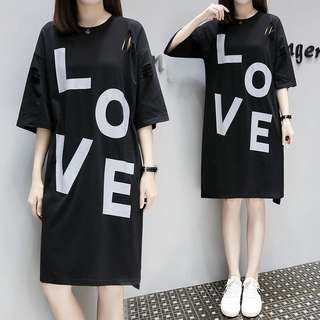 (L~4XL) 2018 spring and summer loose thin short sleeves in the long section T-shirt skirt