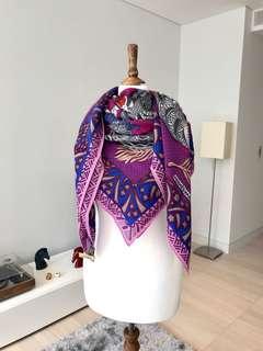 全新 Hermes 140x140cm Silk Cashmere Scarf Shawl 頸巾圍巾 Purple Pink Grey