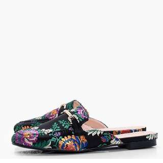 Brand new oriented print black mule loafers slip ons