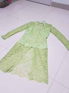 Kebaya hijau manis modern panjang
