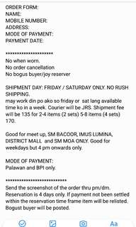 Order, payment mode & rules