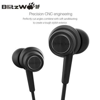 🚚 BlitzWolf BW-ES1 3.5mm In-ear Noise Cancelling Earphone Stereo Earbuds Graphene Earphones With Microphone For Mobile Phone