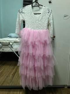 Pink Lace-Accent Tiered Blanche Dress - Girls