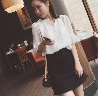 春装新款喇叭袖白色衬衫