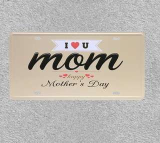 """Vintage Car Plate """"I LOVE MOM HAPPY MOTHER'S DAY"""" Wall Art Craft Vintage Iron Metal Painting for Bar Decor Vintege"""