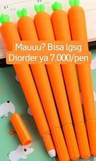 unicorn pen, carrot pen.
