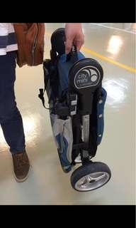 🚚 嬰兒推車-City Mini Fold單手秒收輕運動三輪推車(藍綠色)可加購提籃另議