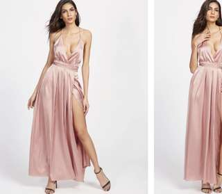 SATIN BLUSH PROM DRESS