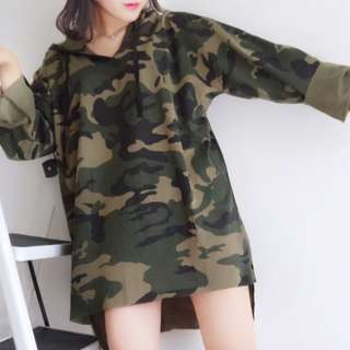 Women's Korean Ulzzang Camo Long Sleeve Hooded Sweater