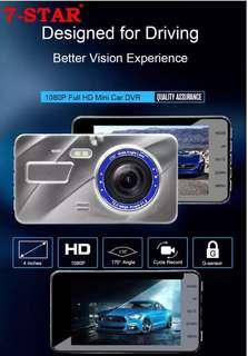 Car Camera - Car Recorder - Dash Cam Dual Lens (Front and Back Car Camera) - Car rear reverse camera - Car Dvr vehicle blackbox camcorder - dual camera dashcam (7-STAR* Full-HD 1080P)