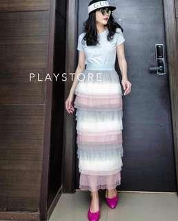[BEST SELLING] [PO] Ballerina Tier Ruffle Long Skirt in Color
