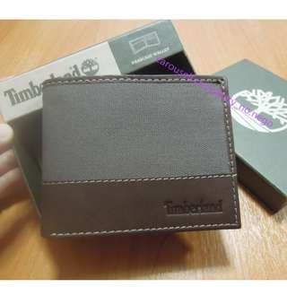 AUTHENTIC Timberland Men's Canvas Leather wallet Bifold passcase grey dark brown colorblock