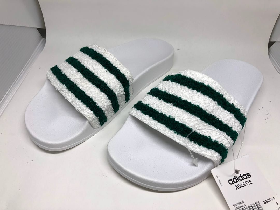 ea7f5c5512c6 Adidas Green   White Terry Cloth Adilette Slides Slippers UK5 ...