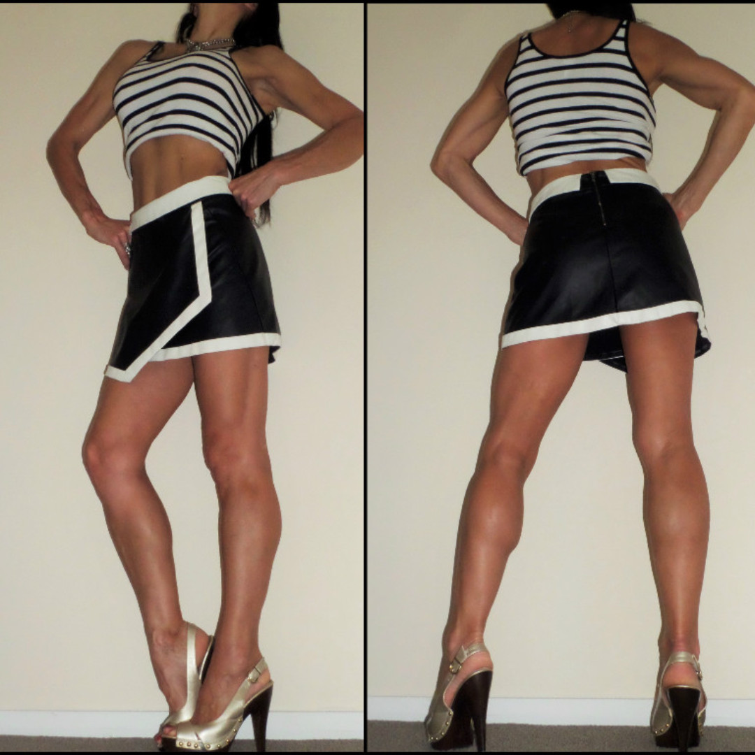 BLACK WHITE LEATHER look RETRO 60s MOD MINI SKIRT 8 10 as NEW