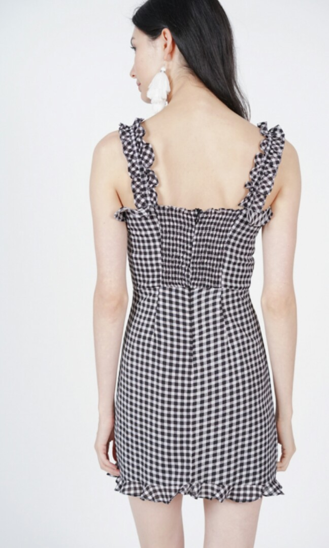 0cf9dac955  pending BNWT MDS Collections Frilly Tie Little Dress In Black Checkered  Monochrome Black and White Gingham