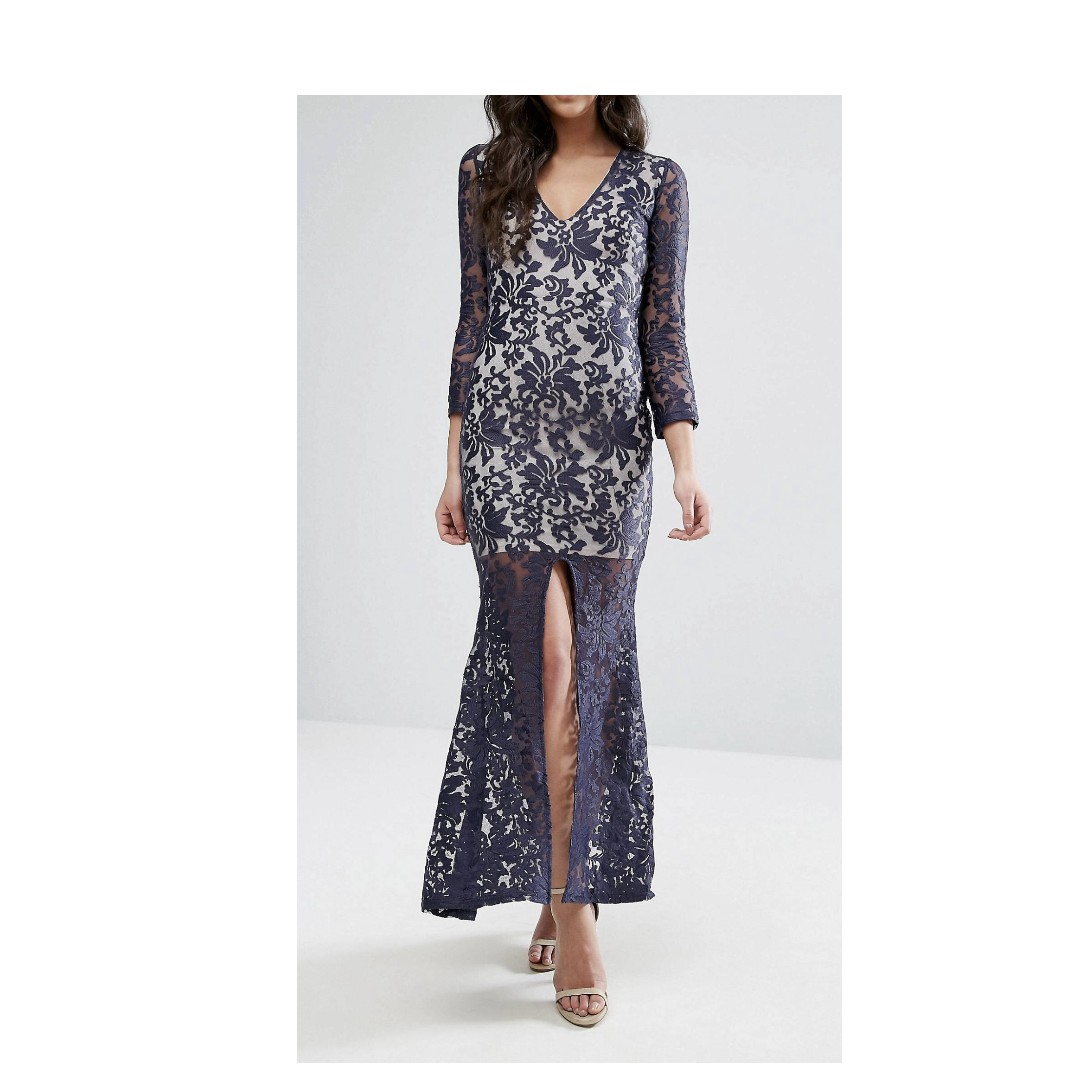 Brocade Embroidery Long Sleeve Maxi Dress With Split Front - Navy/light pink Club L SZRZecpVx