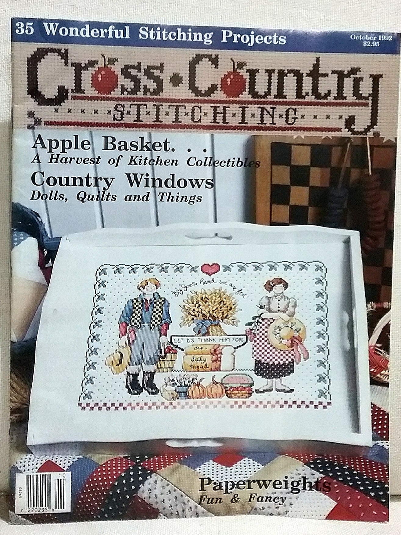 Cross Country Stitching October 1992 magazine, rare out of print, cross  stitch design pattern chart country sampler kitchen bears flowers house