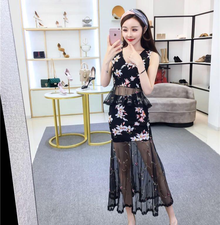 e620c65bf Fl Peplum Mesh Tail Dress Women S Fashion Clothes Dresses