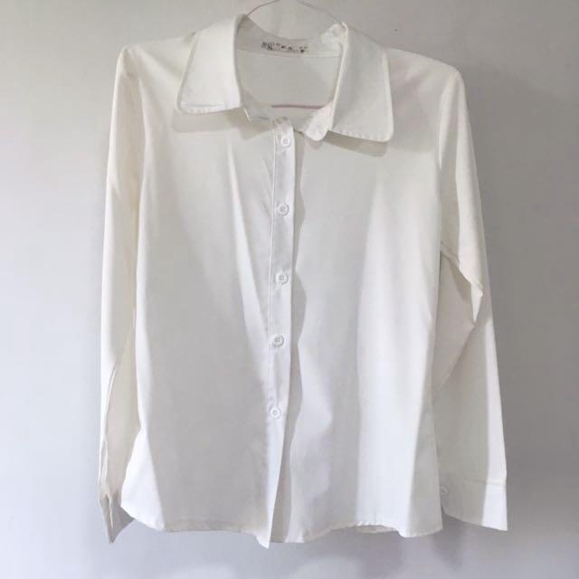 0f65b772 Formal Office White Longsleeved Button Down Blouse Top, Women's ...