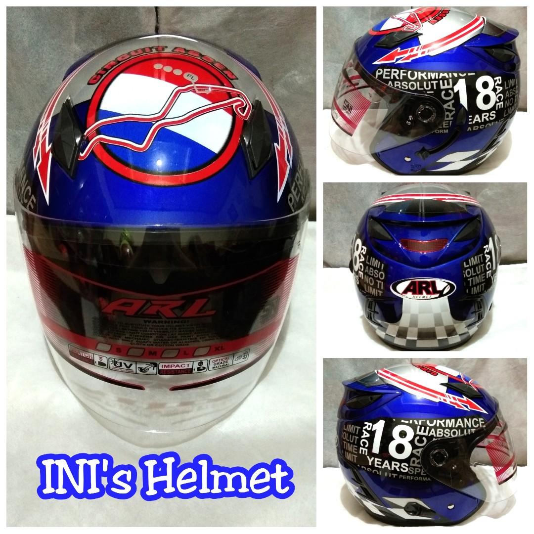 Helm Half Face Double Visor Biru Murah - SNI - ARL - Mirip INK Centro -, Motorbikes on Carousell