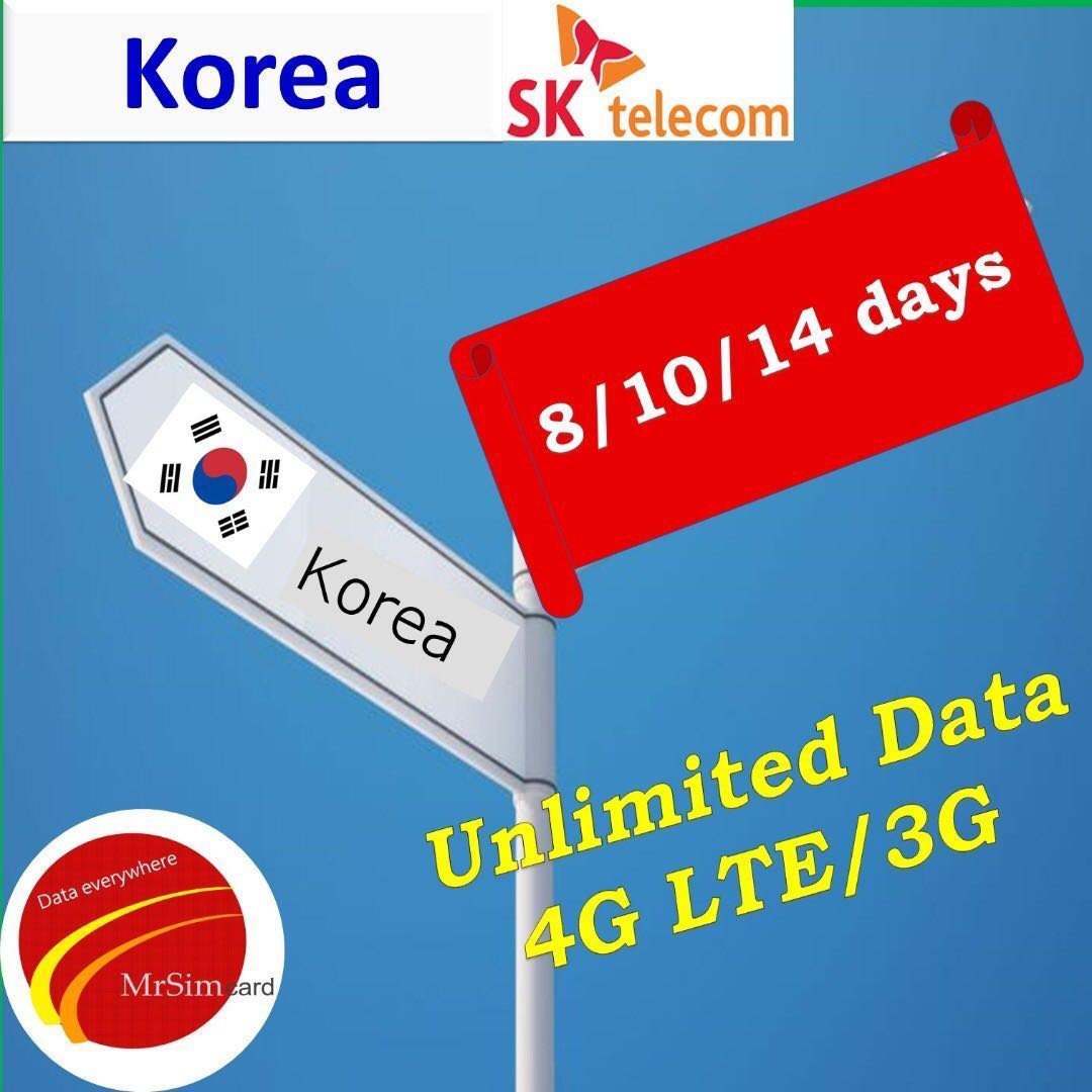 Korea Sim Card . ( Best network coverage by SK Telecom )