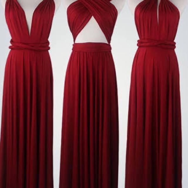 Multiway Burgundy Maxi Dress