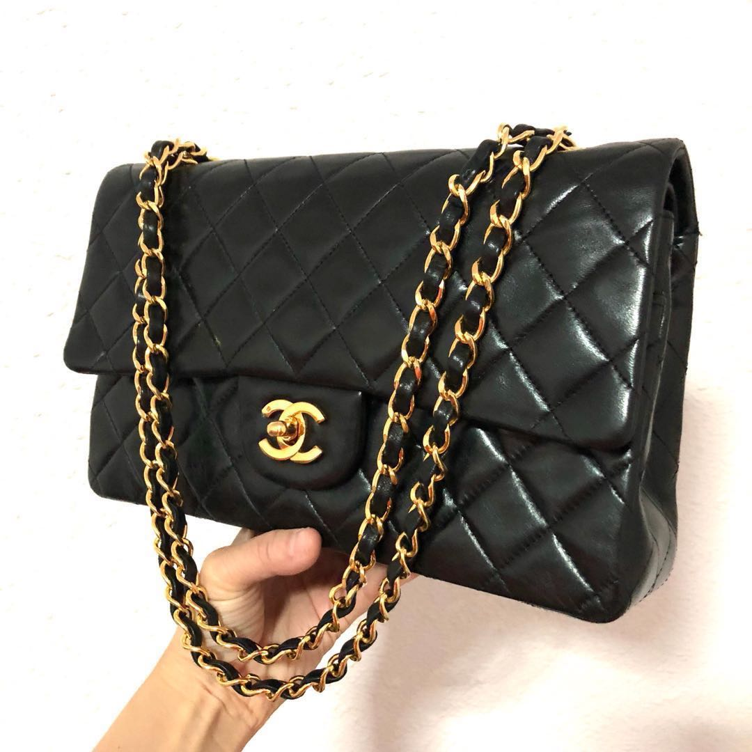 e2e4024e5831 RESERVED Authentic Chanel Lambskin Classic Flap Bag with 24k Gold ...