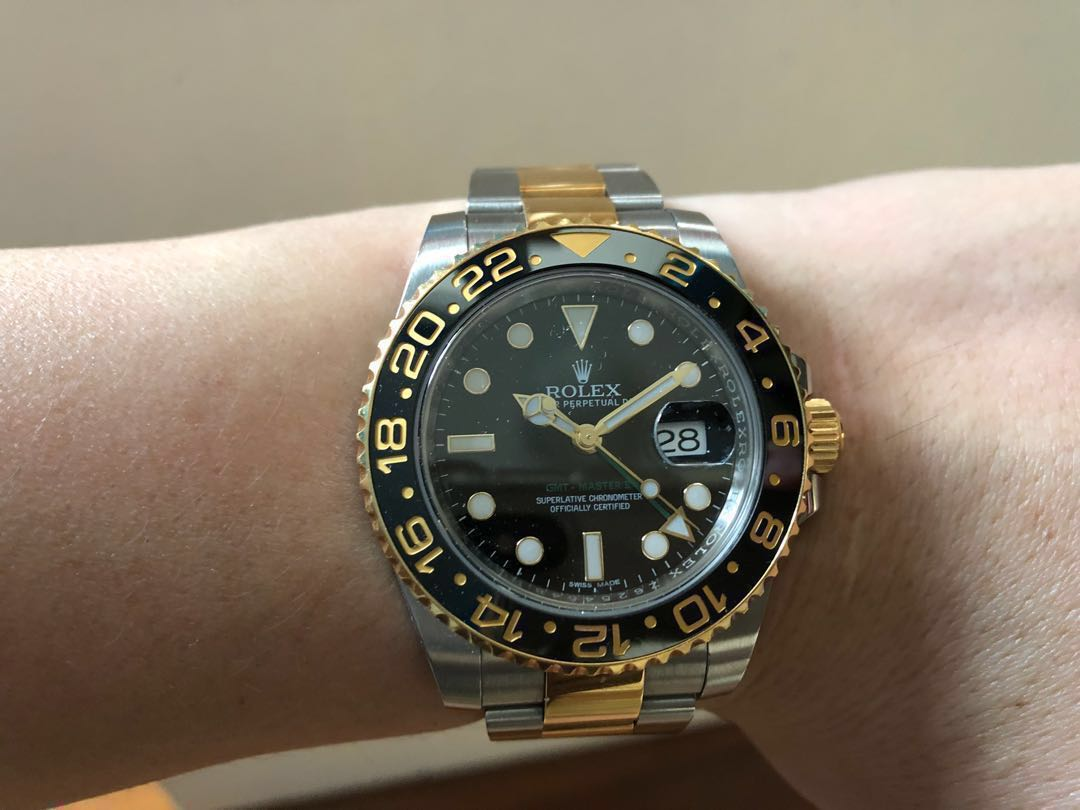 Rolex Gmt Master Ii 116713 Two Tone Half Gold Luxury Watches On