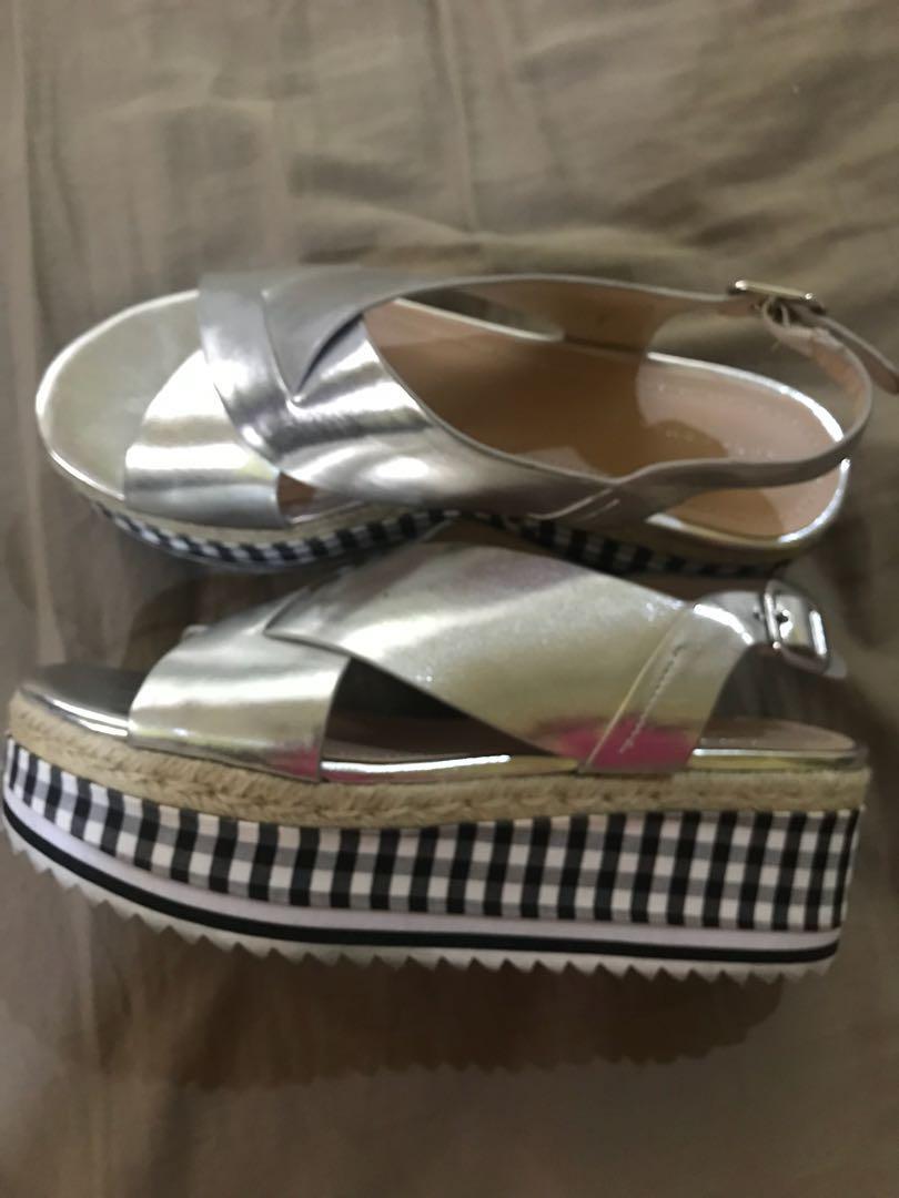 d98e87211e85 Zara Silver Cross Strap Sandals with checks wedge heels