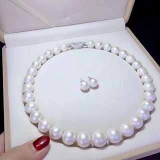 母親節套裝🎁✈✈✈ 天然淡水珍珠12~14mm項鏈配上10mm耳環 正圓強光微瑕,珍珠大佩戴更高貴。