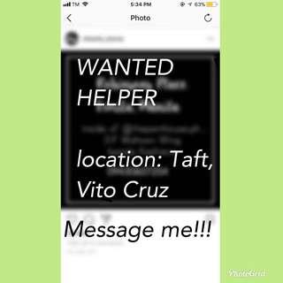 WANTED HELPER!!!!