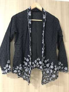 Black n white nonya peranakan embroidered top
