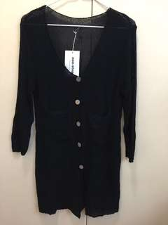黑色針織長身木扭外套 夏天襯衫必備 initial Rococo como na.mu style